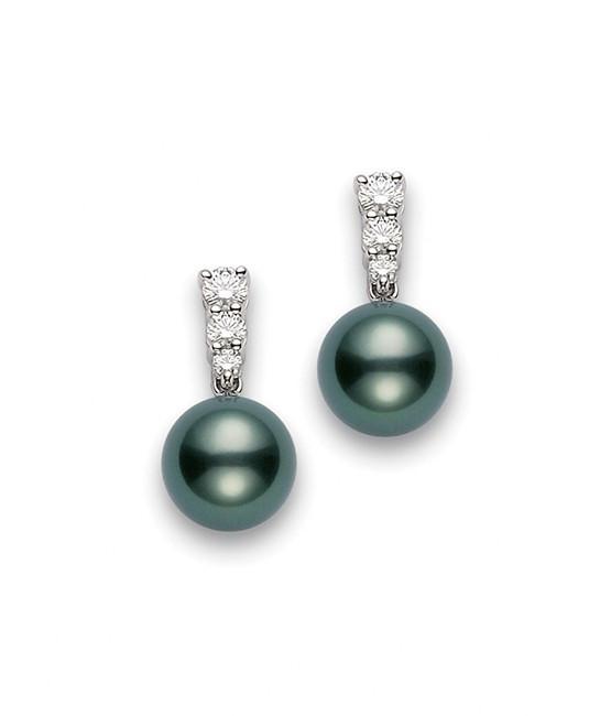 Mikimoto Black South Sea Pearl Diamonds Drop Earrings 9mm