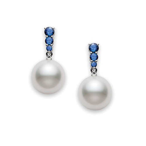 Mikimoto Morning Dew White South Sea Pearl & Blue Sapphire Earrings
