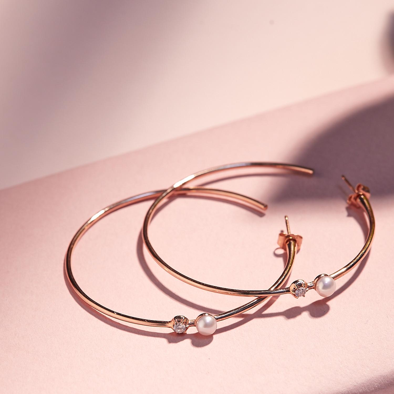 Carbon & Hyde Diamond Pearl Hoop Earrings product shot