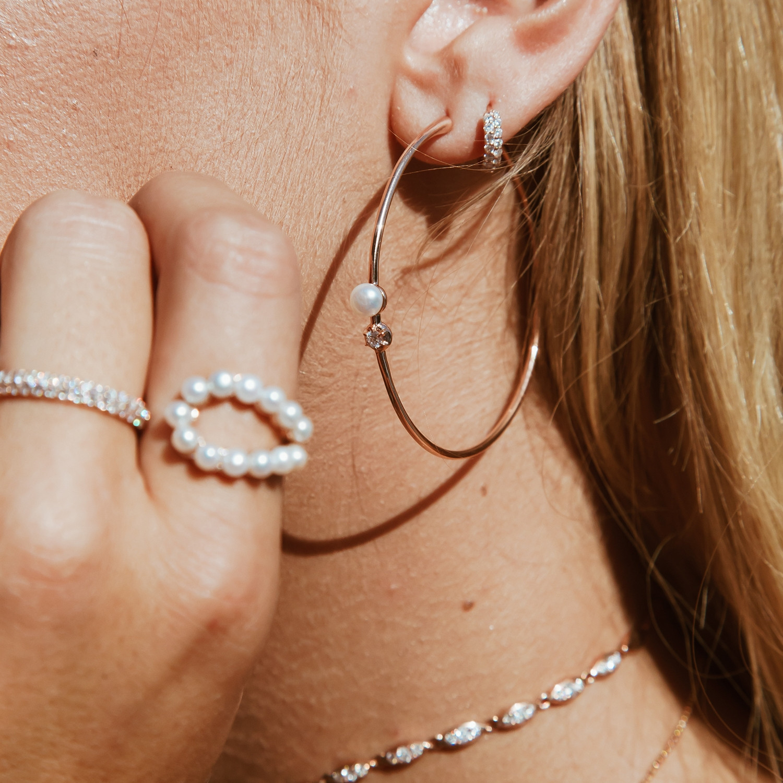 Carbon & Hyde Diamond Pearl Hoop Earrings on model