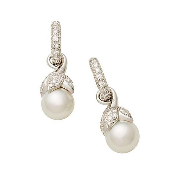 Mikimoto White South Sea Pearl & Diamond Drop Earrings