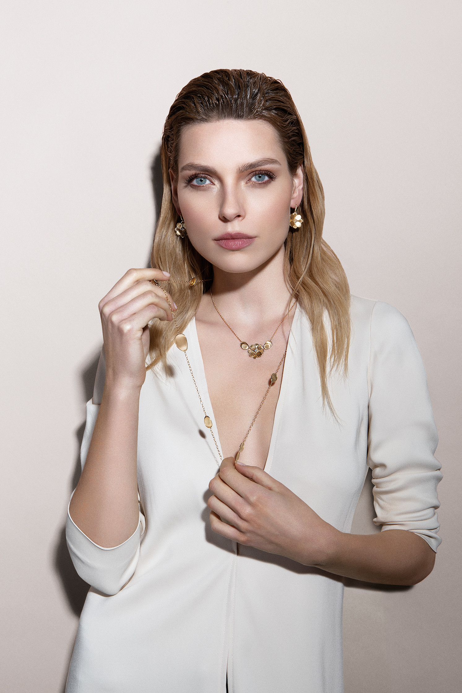 Marco Bicego Petali Diamond Flower Necklace on model