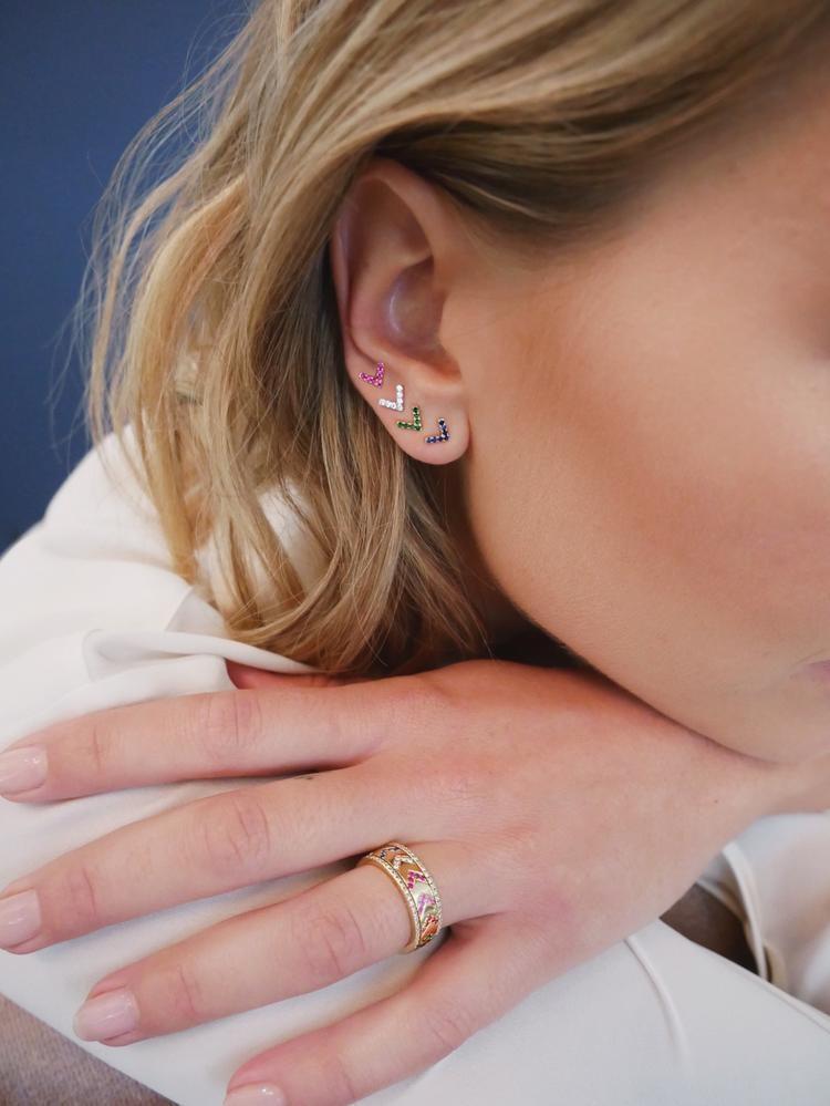 EF Collection Mini Diamond Chevron Stud Earrings in 14K Gold on model