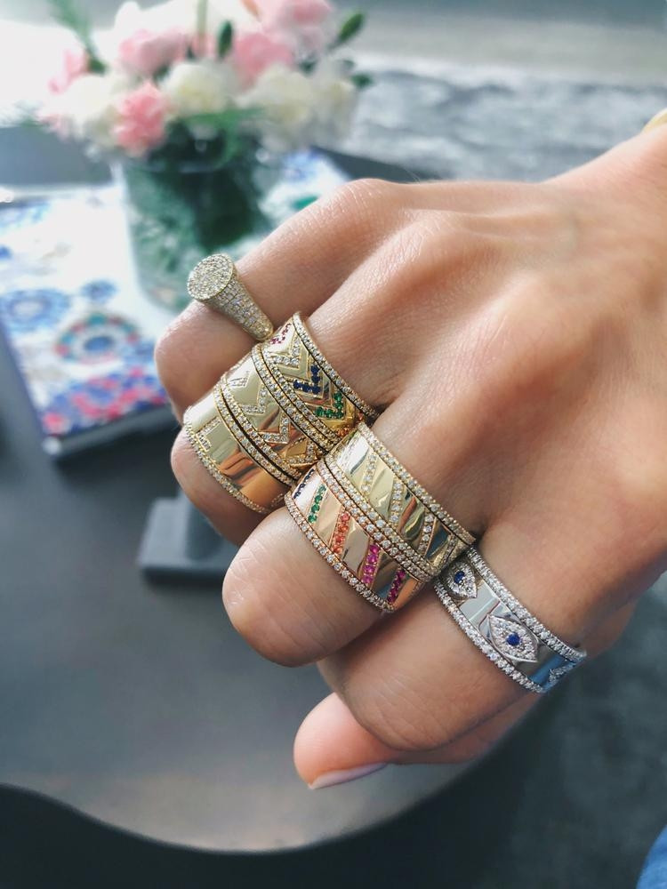 EF Collection Diamond Slash Spinning Ring in Rose Gold on model