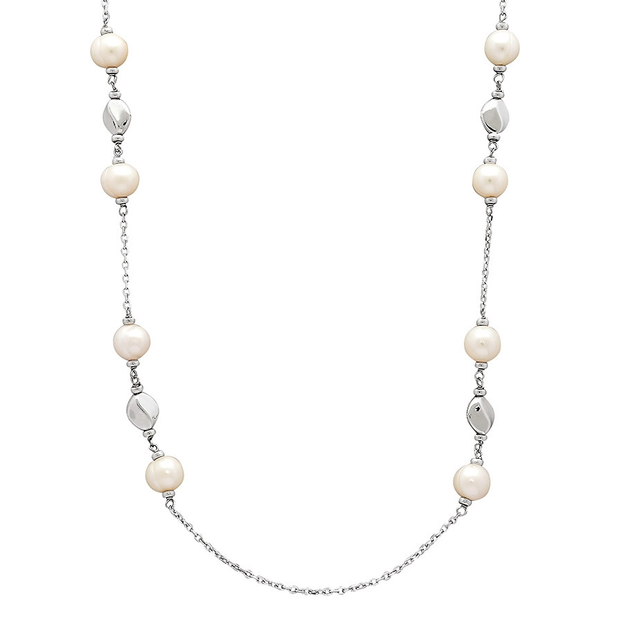Honora White Ringed Pearl Dots & Dashes Silver Nugget Station Necklace