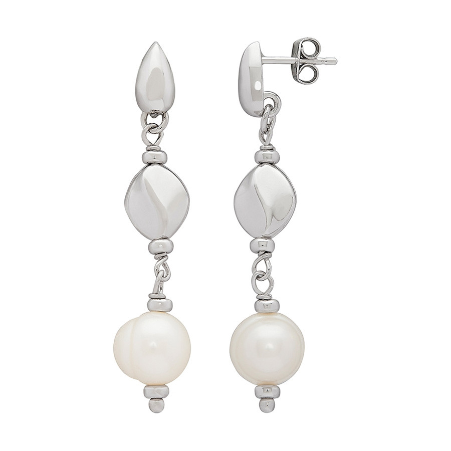 Honora Dots & Dashes White Pearl Silver Nugget Drop Earrings