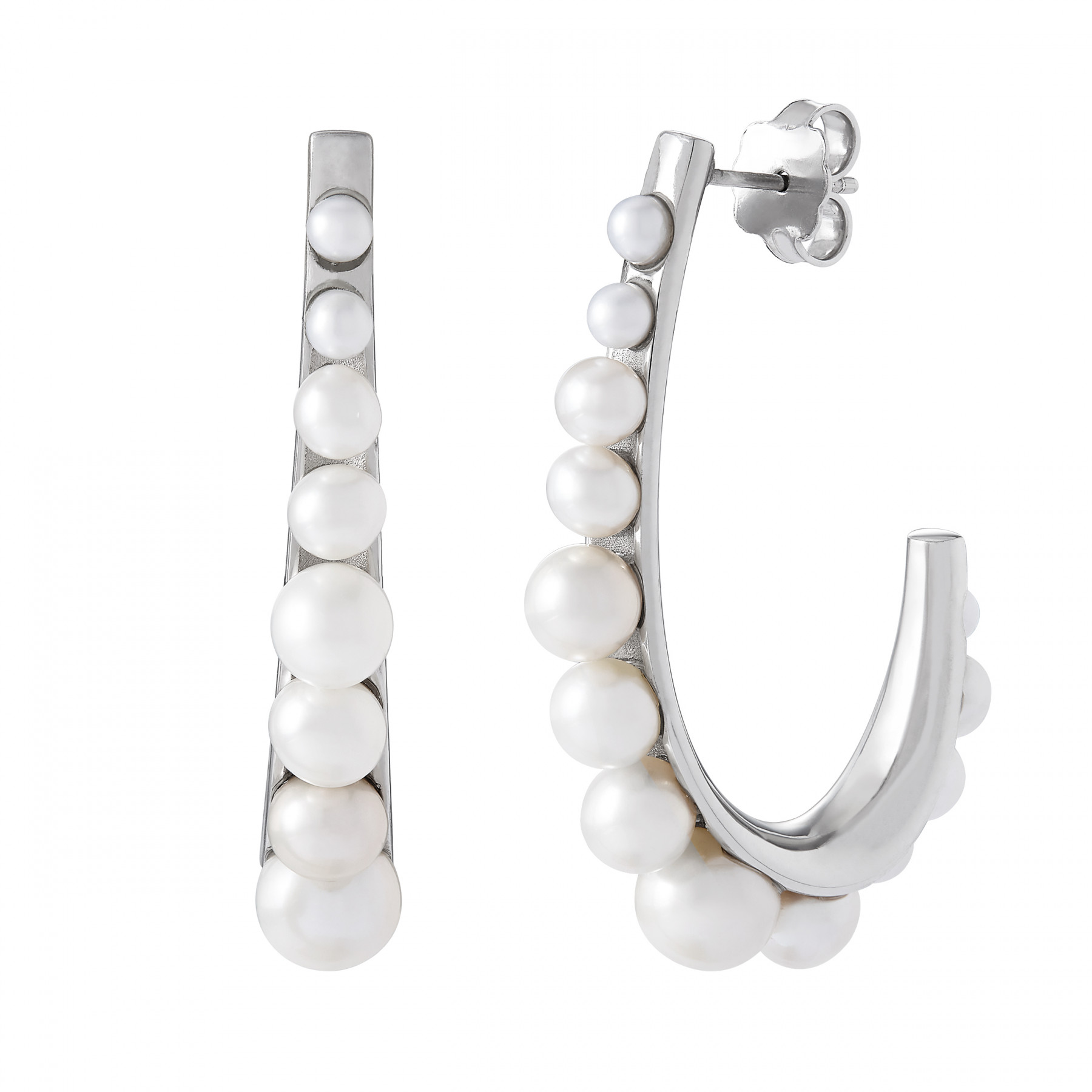 Honora Pearl Covered Hoop Earrings in Silver
