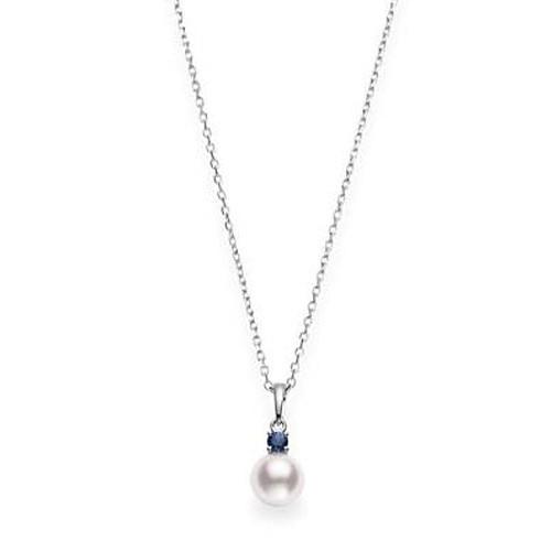 Mikimoto Akoya Pearl & Sapphire Drop Pendant Necklace