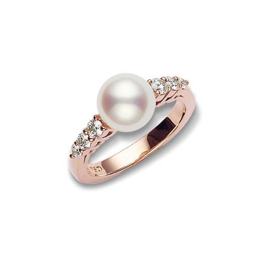 Mikimoto Pearl Rose Gold Diamond Ring