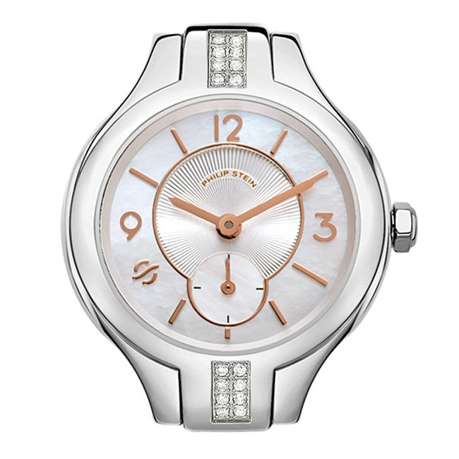 Philip Stein Stainless Steel Rose Gold & Mother of Pearl Dial Diamond Watch