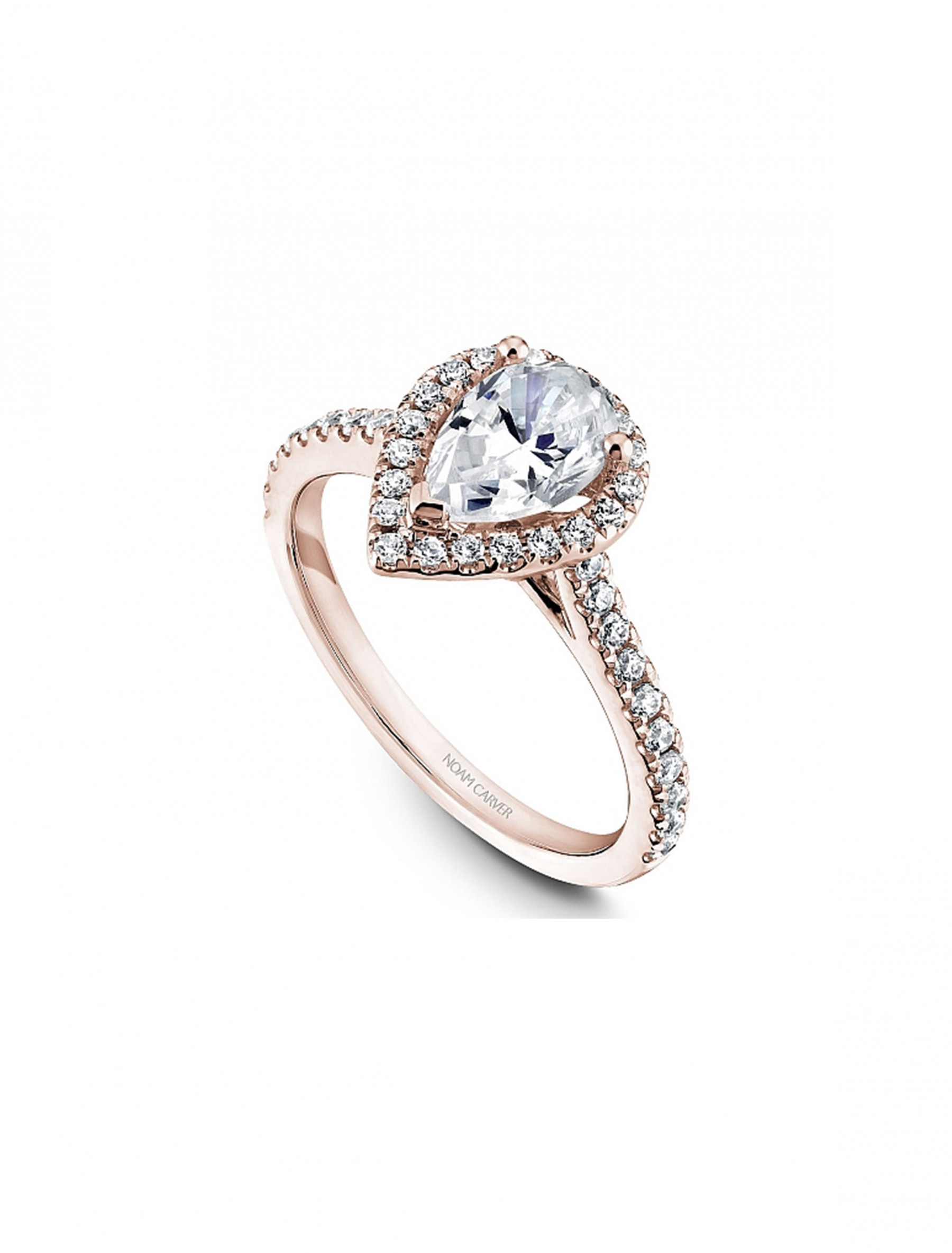Noam Carver Pear Pave Diamond Halo Engagement Ring Setting in 14K Rose Gold angle view
