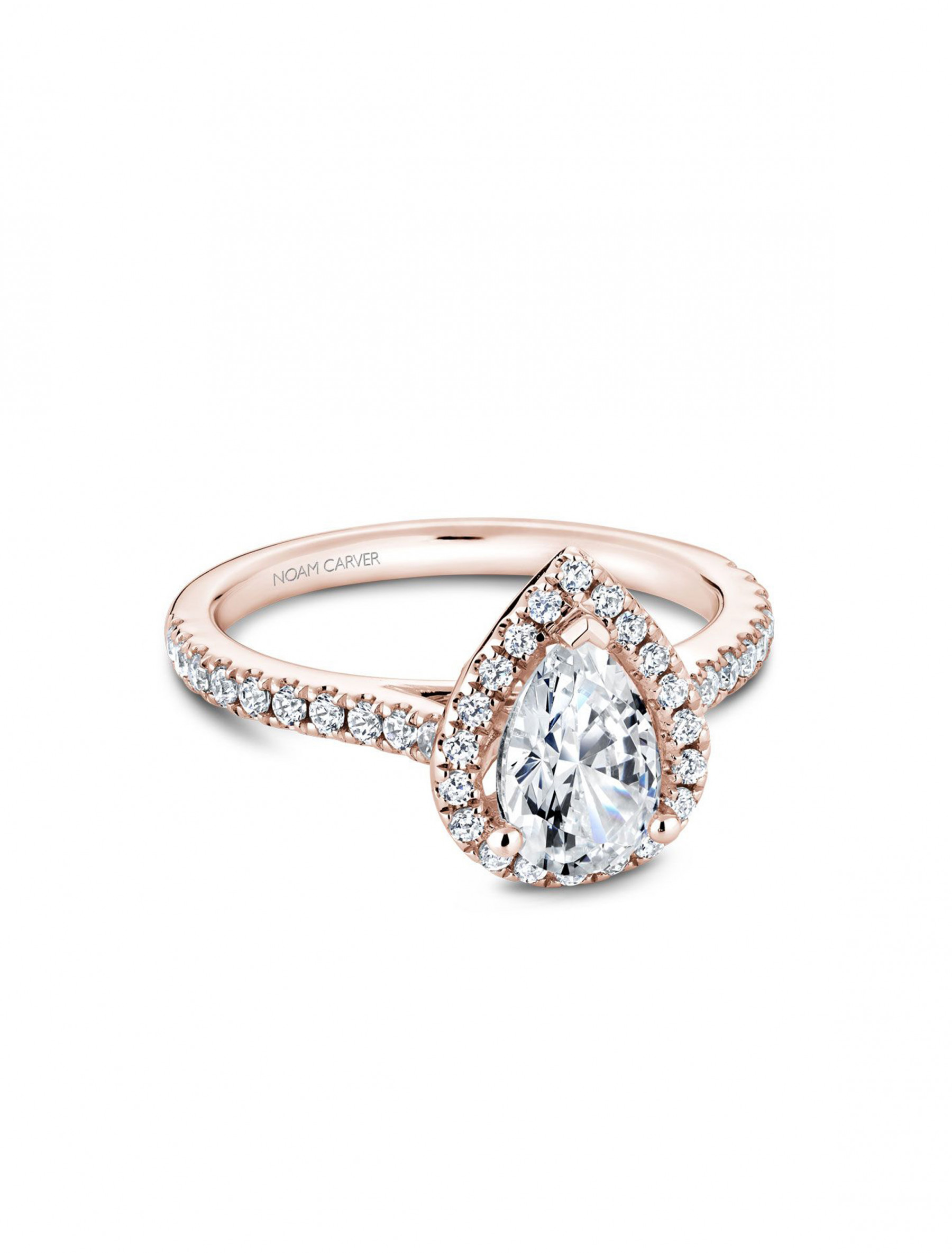 Noam Carver Pear Pave Diamond Halo Engagement Ring Setting in 14K Rose Gold main view