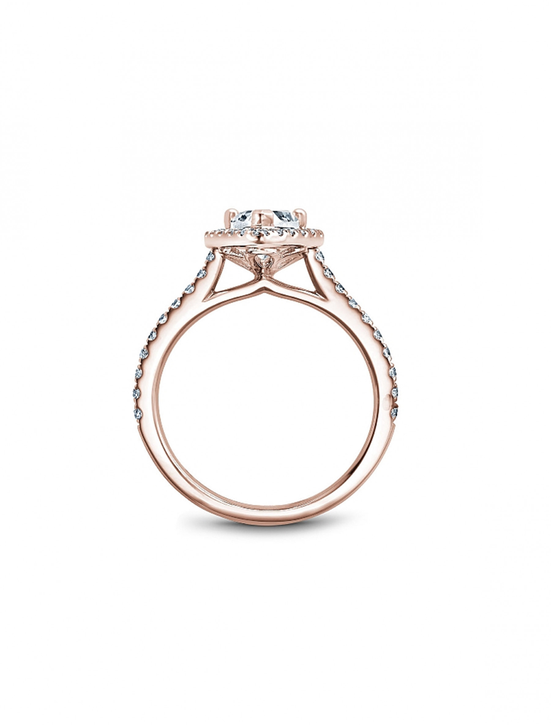 Noam Carver Pear Pave Diamond Halo Engagement Ring Setting in 14K Rose Gold side view