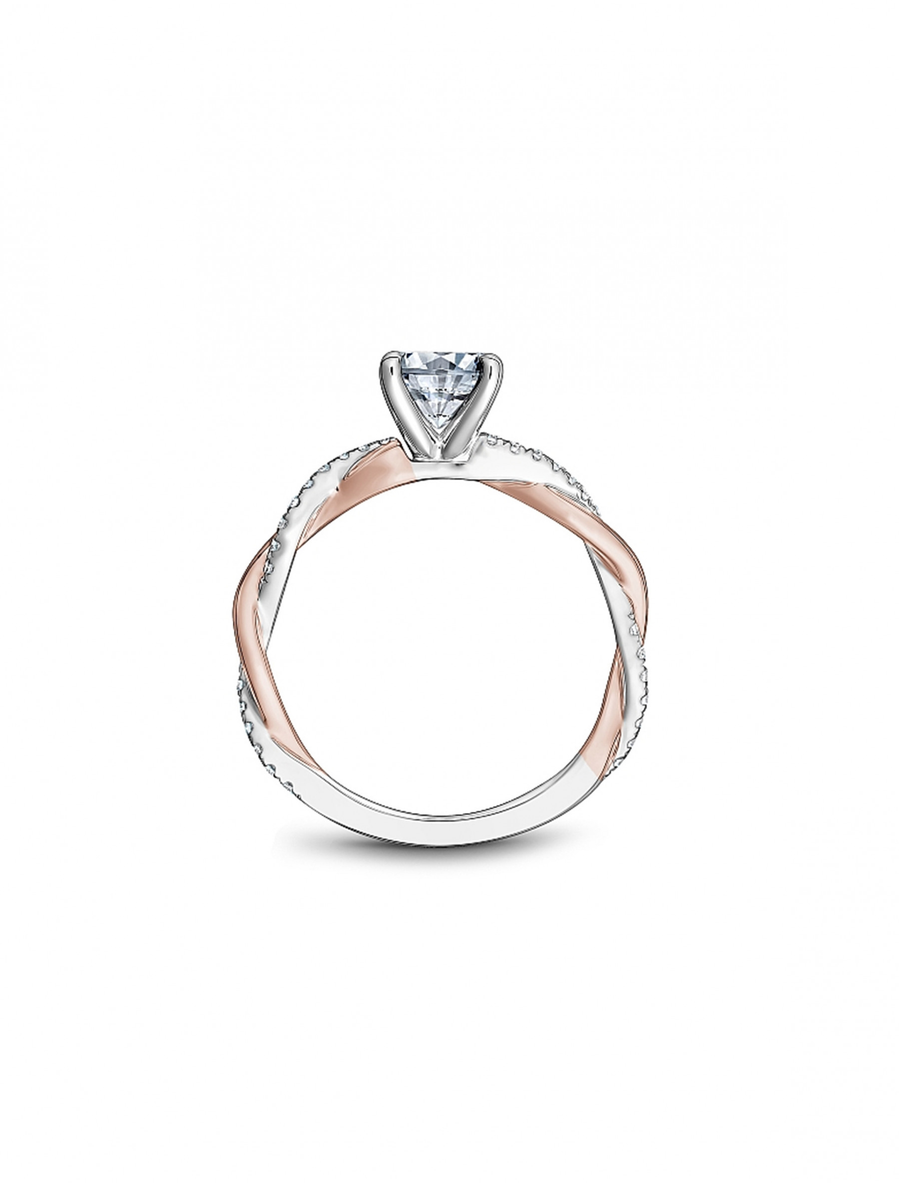 Noam Carver Round Twisted Two Tone Engagement Ring Setting in 18K Gold side view