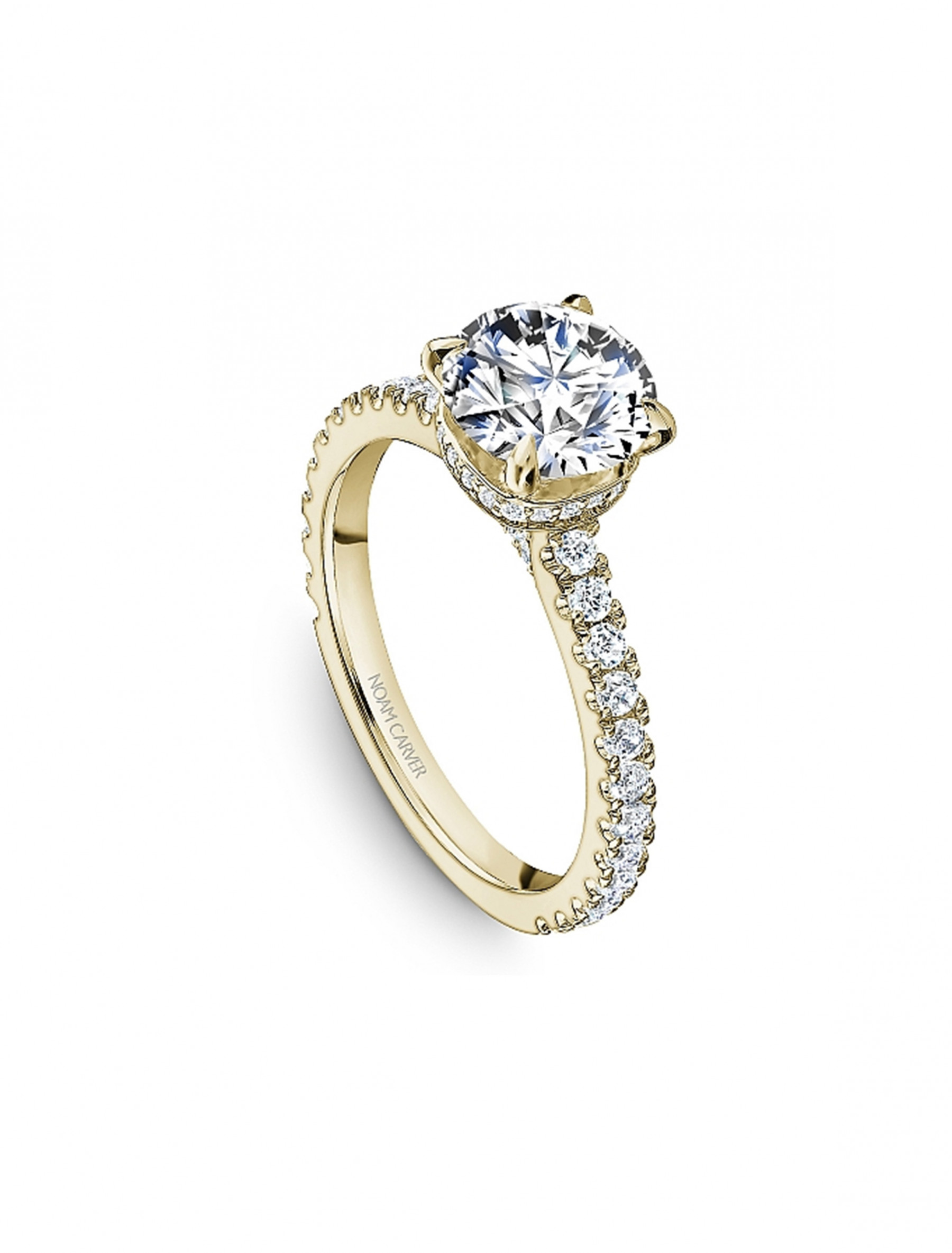 Noam Carver Round Pave Diamond Crown Engagement Ring Setting in 18K Yellow Gold angle view