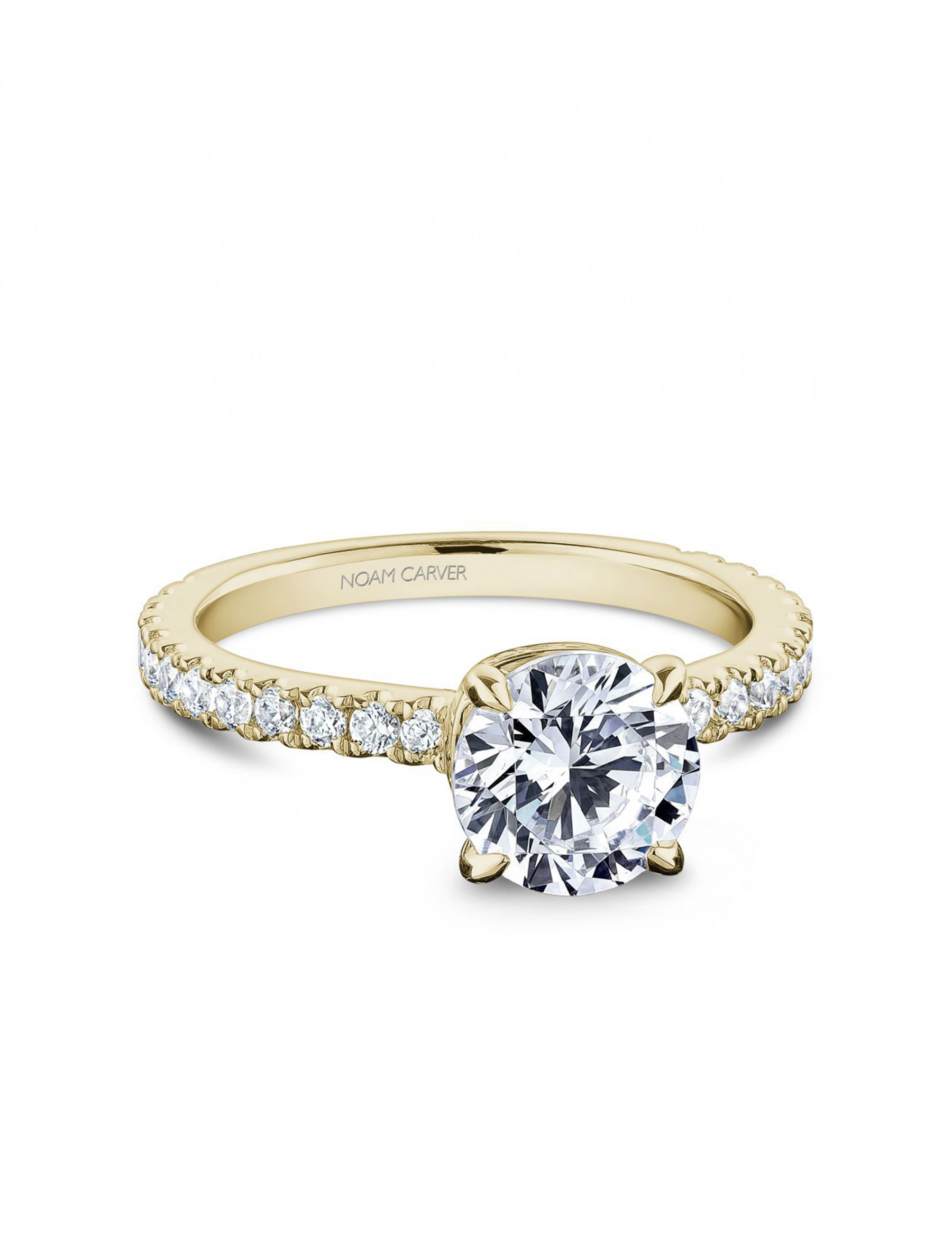 Noam Carver Round Pave Diamond Crown Engagement Ring Setting in 18K Yellow Gold main view
