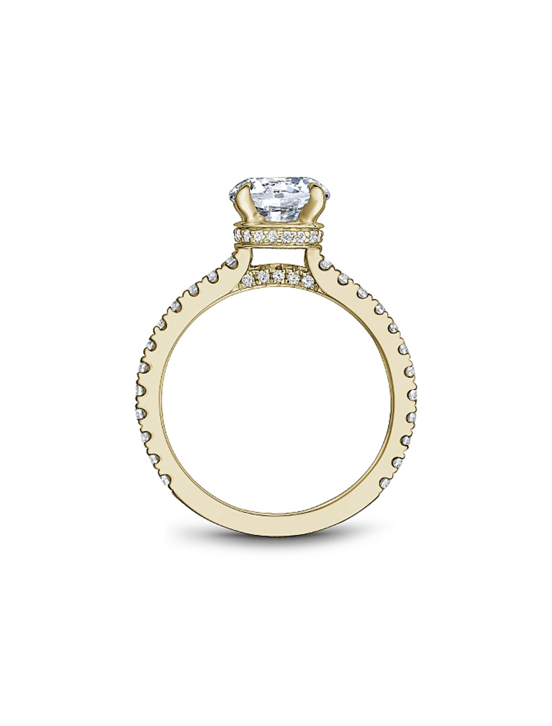 Noam Carver Round Pave Diamond Crown Engagement Ring Setting in 18K Yellow Gold side view
