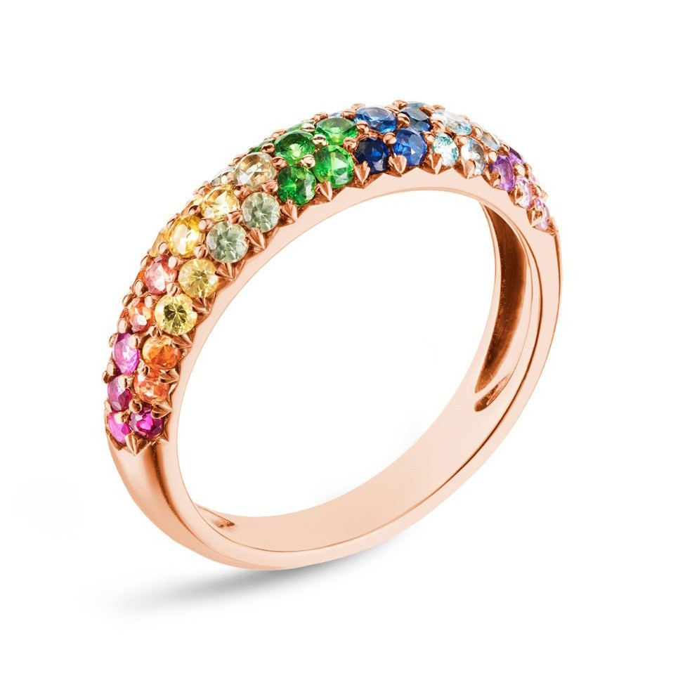 Carbon & Hyde Rose Gold Rainbow Mixed Gemstone Dome Band Ring