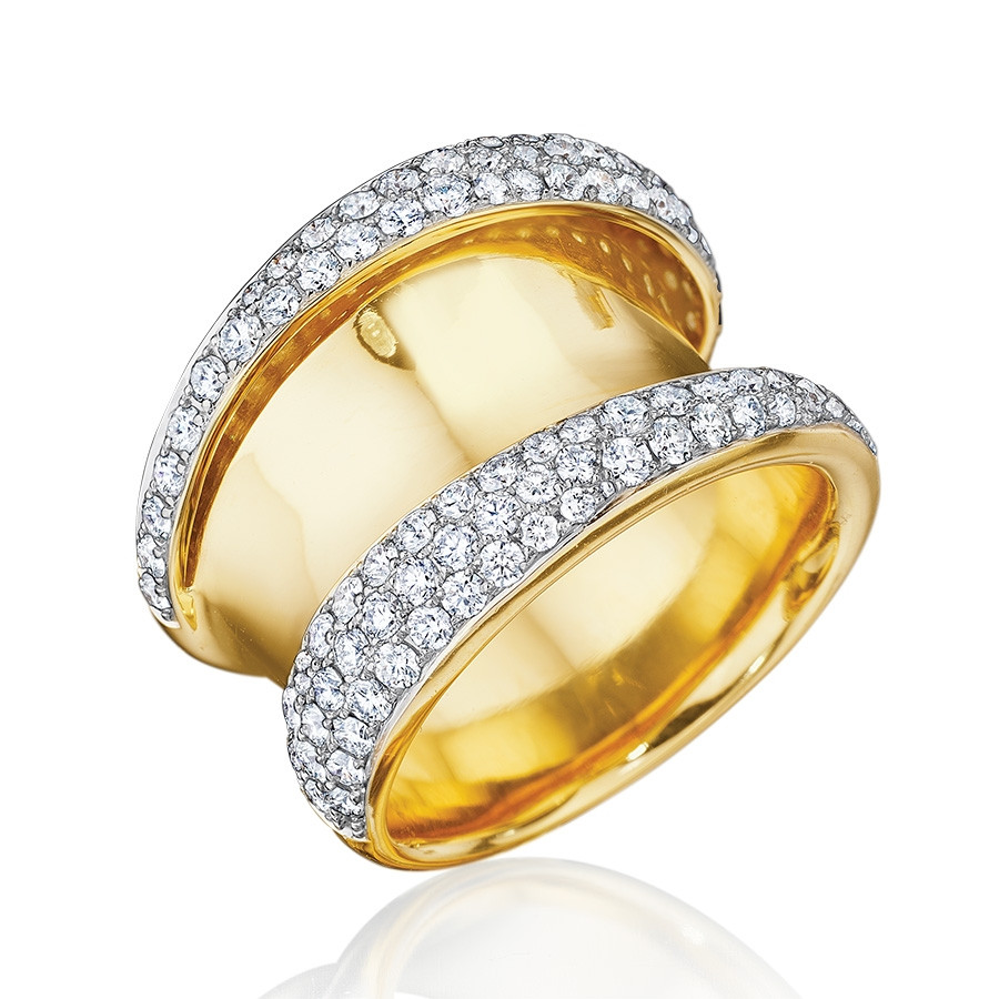 Yellow Gold & Pave Diamond Wave Ring