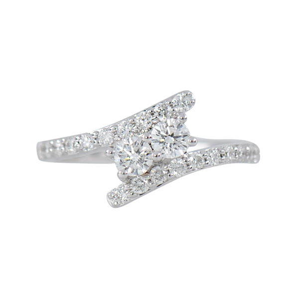 Two Stone .75ctw Diamond Bypass Ring