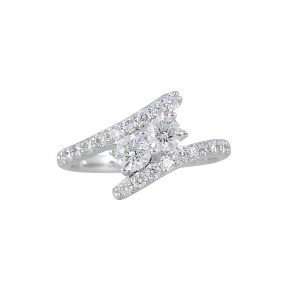 Two Stone 1.00ctw Diamond Bypass Ring