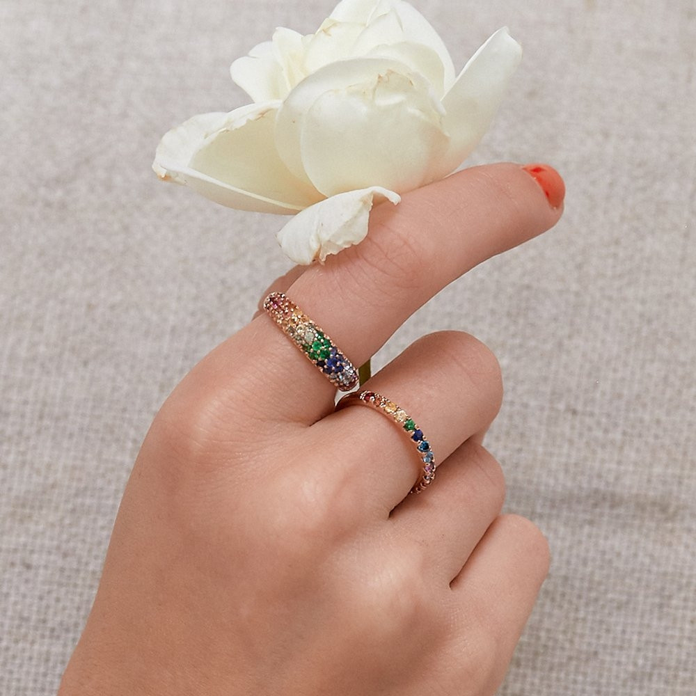 Carbon & Hyde Rose Gold Rainbow Mixed Gemstone Dome Band Ring on Model