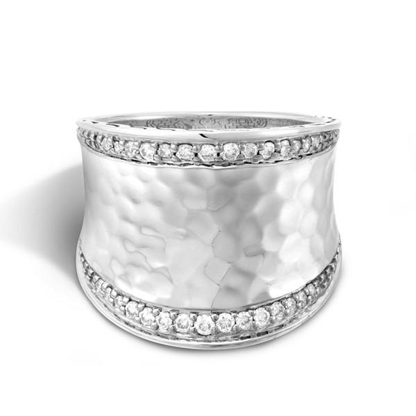 John Hardy Silver Diamond Saddle Classic Chain Ring Top View