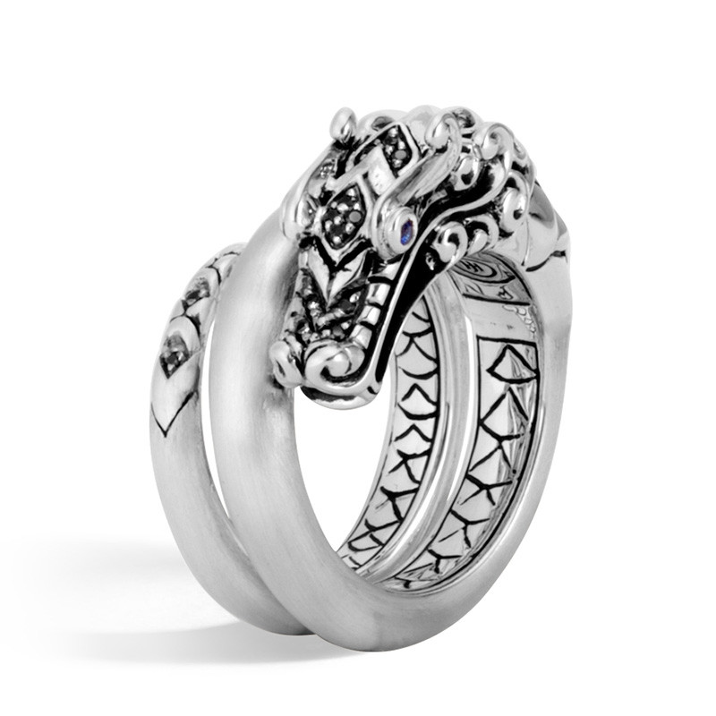 John Hardy Naga Legends Brushed Silver Dragon Coil Ring