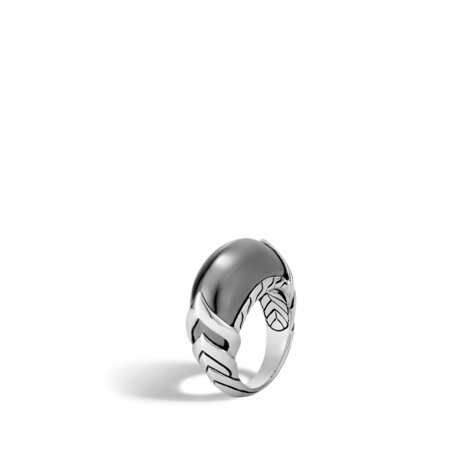 John Hardy Legends Naga Hematite Ring in Sterling Silver angle view