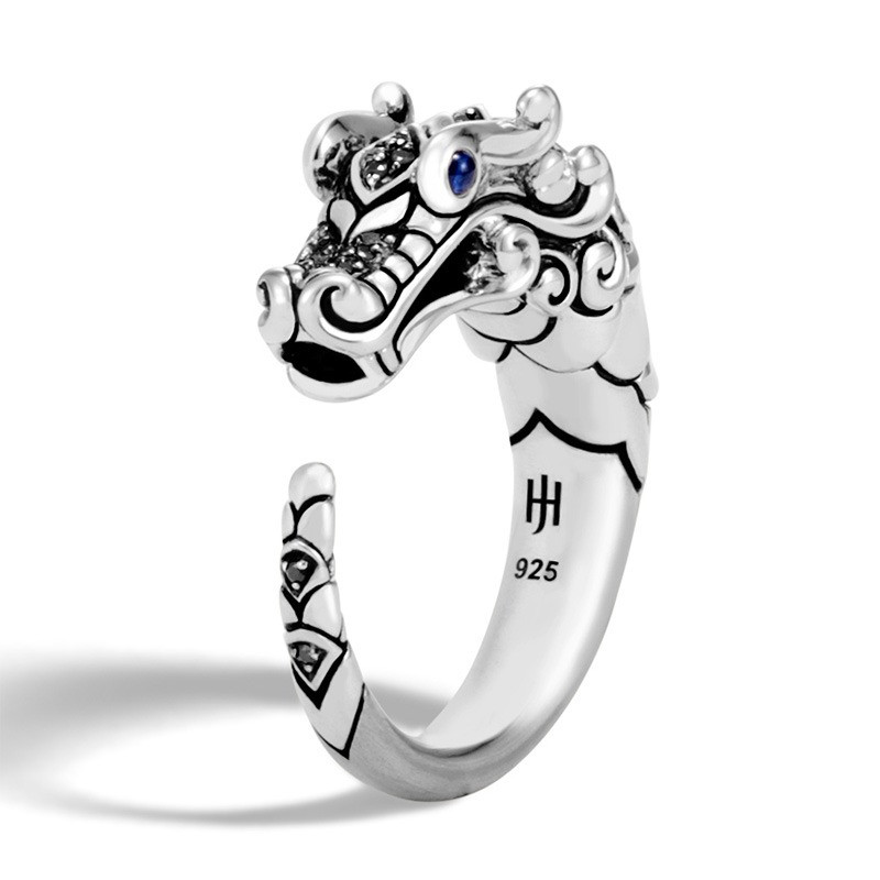 John Hardy Black Sapphire & Spinel Brushed Silver Legends Naga Ring Angle View