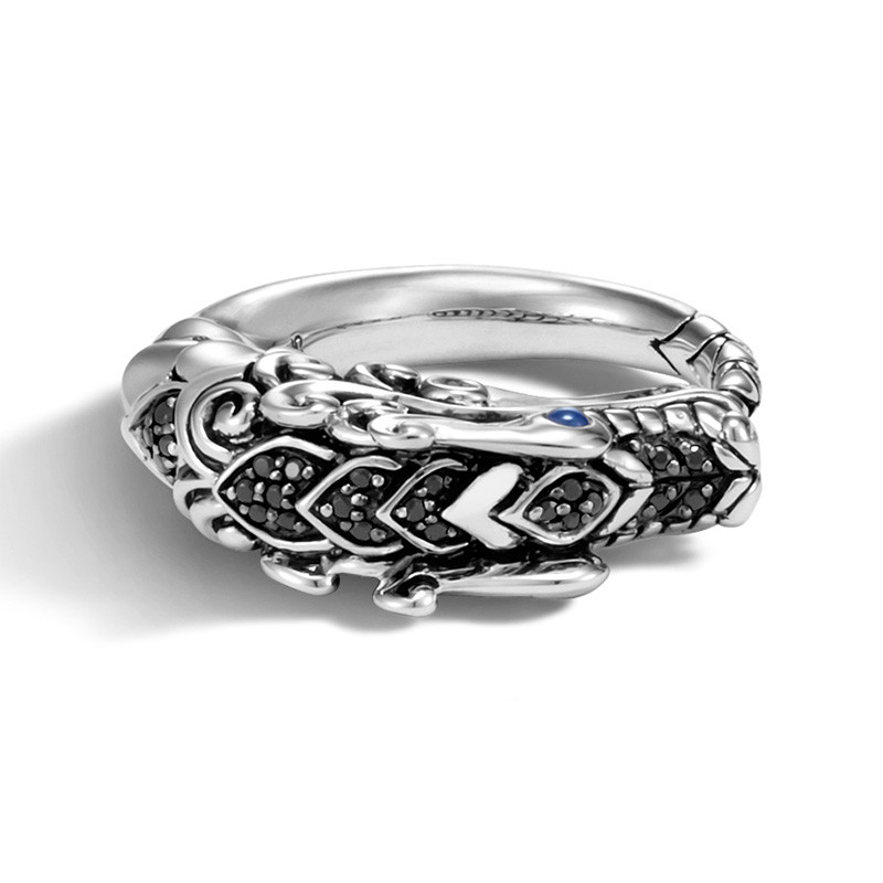 John Hardy Black Sapphire & Spinel Brushed Silver Legends Naga Ring Top View