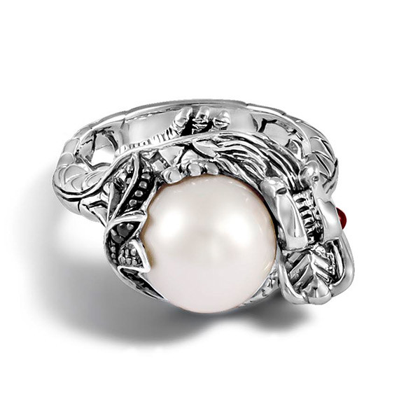 John Hardy Naga Black Sapphire Pearl Ring Top View