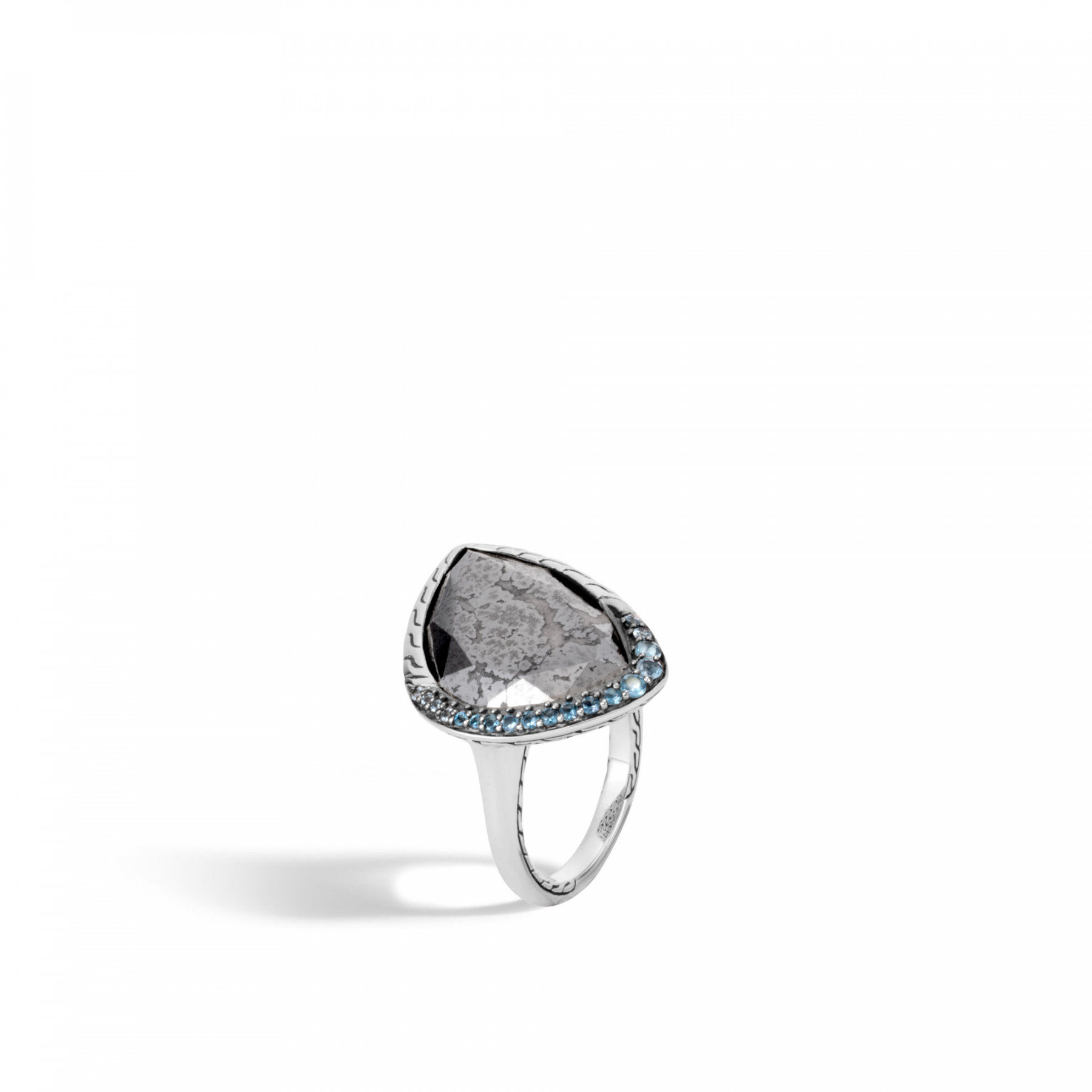 John Hardy Classic Chain Silver Calcite & Blue Topaz Ring angle view