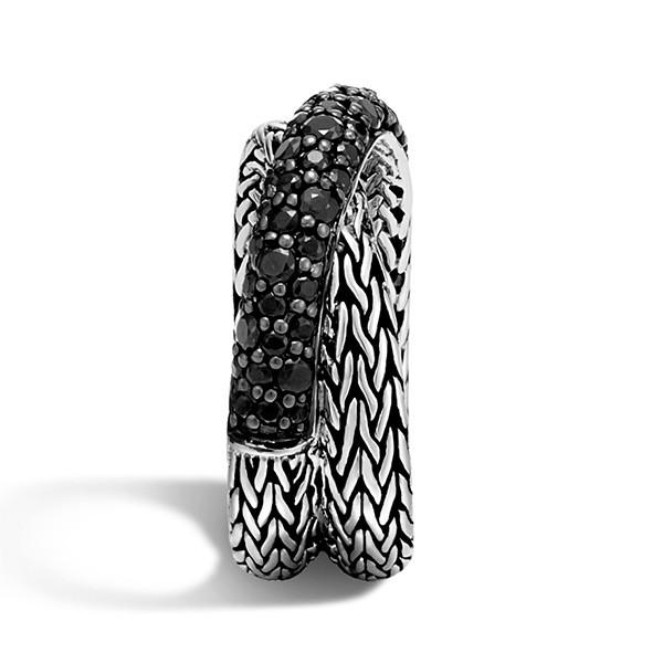 John Hardy Overlap Black Sapphire Classic Chain Ring Side View