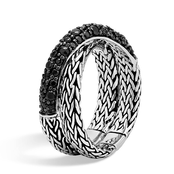 John Hardy Overlap Black Sapphire Classic Chain Ring