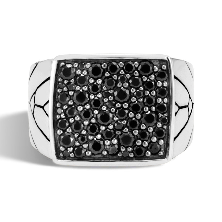 John Hardy Silver & Black Sapphire Modern Chain Ring Top View