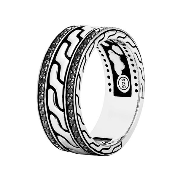 John Hardy Black Sapphire Band Classic Chain Ring