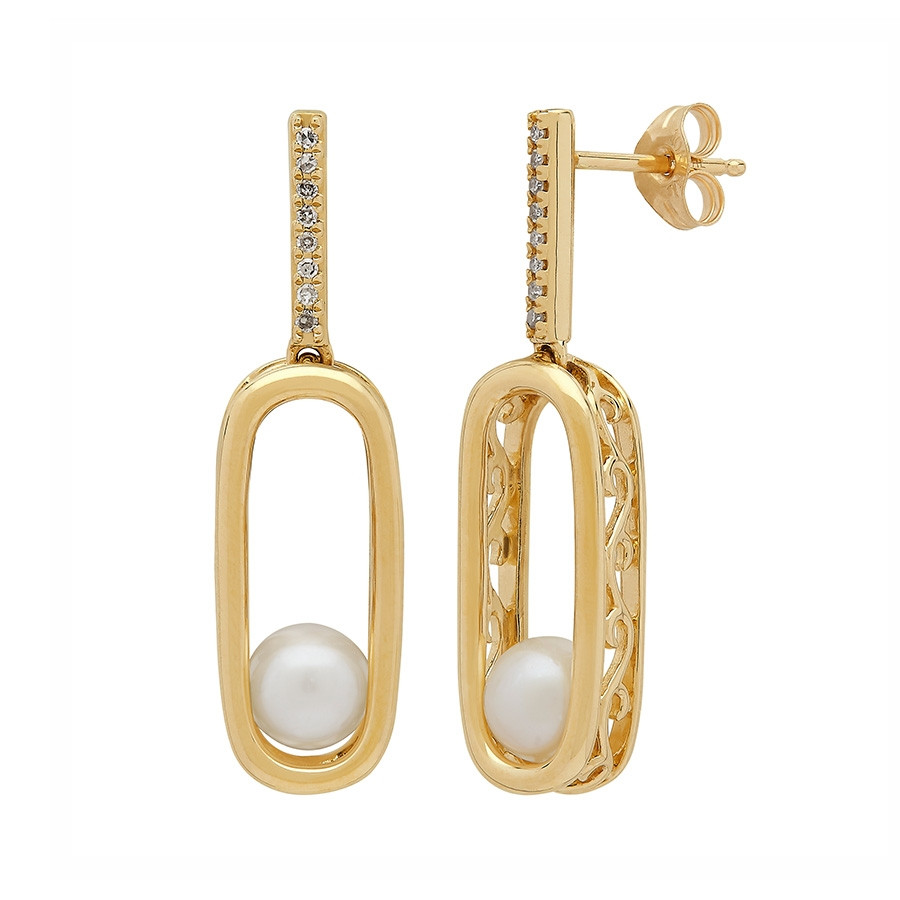 Honora Yellow Gold Wanderlust White Pearl Diamond Drop Earring