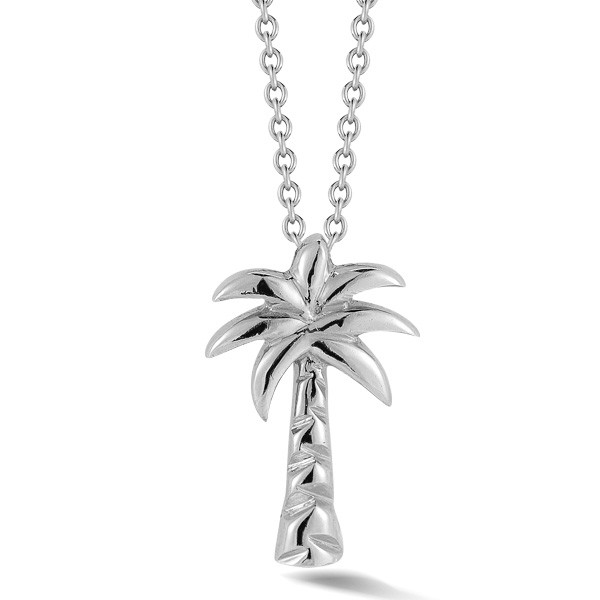 White Gold Palm Tree Necklace