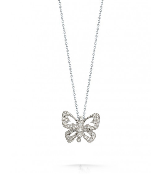 Roberto Coin Tiny Treasures Butterfly With Diamonds Necklace