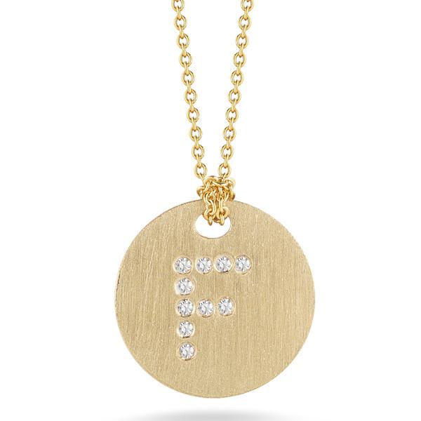 Diamond Initial F Medallion Necklace