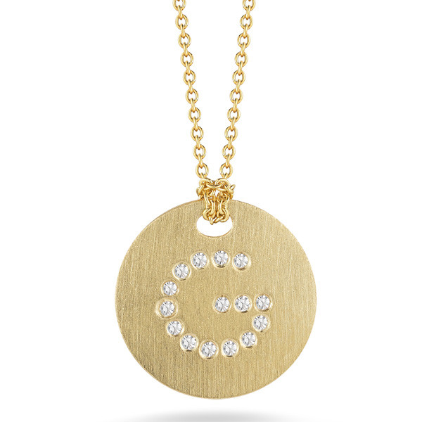 Diamond Initial F Medallion Necklace