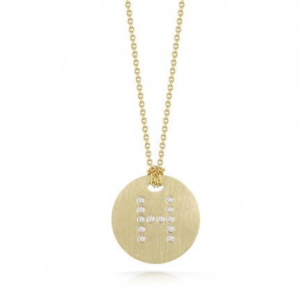 Roberto Coin Tiny Treasures 18kt Yellow Gold Diamond Initial H Medallion Necklace