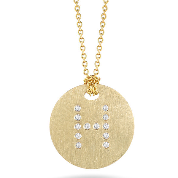 Diamond Initial H Medallion Necklace