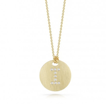 Roberto Coin Tiny Treasures 18kt Yellow Gold Diamond Initial I Medallion Necklace