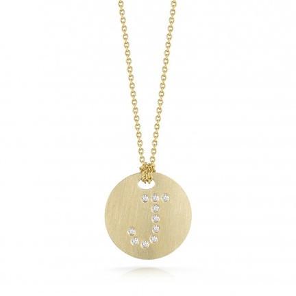 Roberto Coin Tiny Treasures 18kt Yellow Gold Diamond Initial J Medallion Necklace