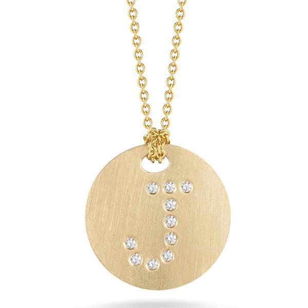Diamond Initial J Medallion Necklace