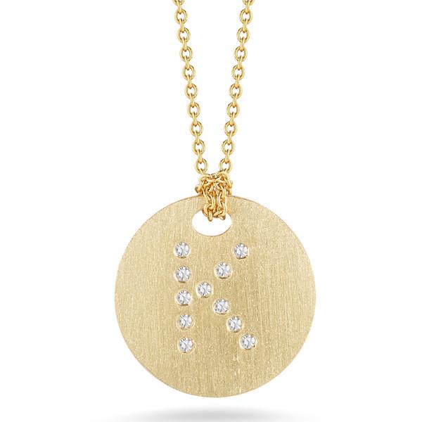 Diamond Initial K Medallion Necklace