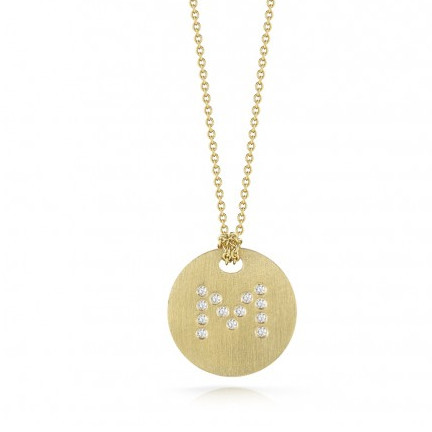 Roberto Coin Tiny Treasures 18kt Yellow Gold Diamond Initial M Medallion Necklace