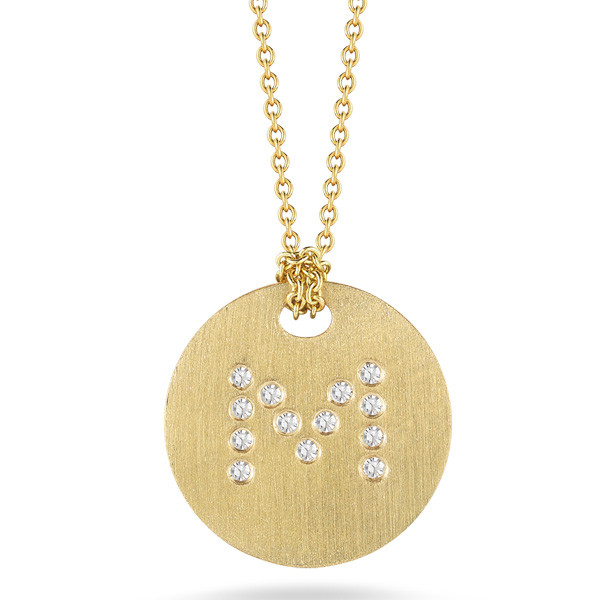 Diamond Initial M Medallion Necklace